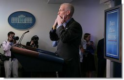 "White House spokesman Tony Snow blows a kiss to the press corps Wednesday, Sept. 12, 2007, after delivering his final briefing in the James S. Brady Briefing Room. Said Mr. Snow, ""This job has been the most fun I have ever had, the most satisfying, fulfilling job."" White House photo by Chris Greenberg"