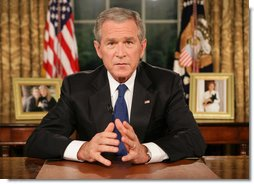 "President George W. Bush concludes his address to the nation from the Oval Office Thursday evening, Sept. 13, 2007. Supporting the recommendations issued in a report from General David Petraeus, President Bush said, ""Now, because of the measure of success we are seeing in Iraq, we can begin seeing troops come home."" White House photo by Eric Draper"