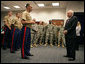 "Vice President Dick Cheney talks with U.S. Marine Major Dan Whisnant Friday, Sept. 14, 2007, during a meeting with Marines of Alpha Company, 1st Batallion, 24th Regiment, left, and members of Michigan's Army National Guard, right, at the Gerald R. Ford Library and Museum in Grand Rapids, Mich. The Vice President thanked the troops for their service in Iraq and called their work with Iraqi tribal leaders a ""great success story."" White House photo by David Bohrer"