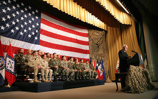 "Vice President Dick Cheney addresses Central Command, Special Operations Command and the Sixth Air Mobility Wing Friday, Sept. 14, 2007, at MacDill Air Force Base in Tampa, Fla. ""We have shown a watching world that we are a good and just nation: secure in our ideals, fearless in their defense, and willing to sacrifice greatly for the cause of long-term peace,"" said the Vice President. ""We will press on in our mission, and turn events toward victory."" White House photo by David Bohrer"