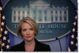 Dana Perino listens to a reporter's question Monday, Sept. 17, 2007, in the James S. Brady Briefing Room, during her first briefing since being named White House Press Secretary. Ms. Perino replaced Tony Snow, who stepped down last week. White House photo by Chris Greenberg