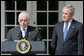 "President George W. Bush listens to remarks by Judge Michael Mukasey after announcing his nomination Monday, Sept. 17, 2007, in the Rose Garden, to be the 81st Attorney General of the United States. In thanking the President, Judge Mukasey said, ""The department faces challenges vastly different from those it faced when I was an assistant U.S. attorney 35 years ago. But the principles that guide the department remain the same -- to pursue justice by enforcing the law with unswerving fidelity to the Constitution."" White House photo by Chris Greenberg"