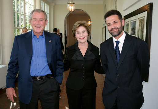 "President George W. Bush and Mrs. Laura Bush welcome author Khaled Hosseini to the White House for a screening Sunday, Sept. 16, 2007, of the film adaptation of Hosseini's novel, ""The Kite Runner,"" a fictional story of the friendship between Amir, a privileged boy, and Hassan, the son of his father's servant, in Afghanistan during the last days of the monarchy through the rule of the Taliban. Guests at the screening included: Vice President Dick Cheney; Secretary of Defense Robert Gates; Chairman of the Joint Chiefs of Staff General Peter Pace; National Security Advisor Stephen Hadley; Ambassador Said T. Jawad of Afghanistan; former U.S. Ambassador to Afghanistan, now U.S. Ambassador to the United Nations Zalmay Khalilzad; former U.S. Ambassador to Afghanistan Ronald E. Neumann; and President of the American University in Afghanistan Tom Stauffer. White House photo by David Bohrer"