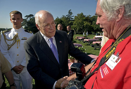Vice President Dick Cheney talks with Carson George during an event for military support organizations Tuesday, Sept. 18, 2007, on the South Lawn. Mr. George's son, Lance Cpl. Phillip George, was killed in August of 2005 while serving with the U.S. Marines in Afghanistan. He was posthumously awarded a Purple Heart and a Bronze Star. White House photo by David Bohrer