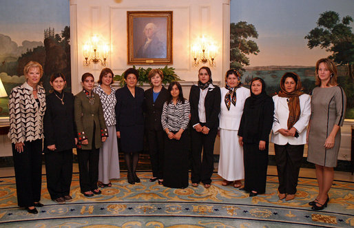 Mrs. Laura Bush meets with Afghan women business owners who have just completed four weeks of business training at Northwood University in Midland, Mich., Wednesday, Sept. 19, 2007, in the Diplomatic Reception Room. The women are sponsored by the Women Impacting Public Policy Institute and supported by the U.S.-Afghan Women's Council. White House photo by Shealah Craighead