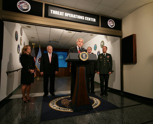 "President George W. Bush addresses the press from the National Security Agency Wednesday, Sept. 19, 2007, at Ft. Meade, Md. ""Everyday, our intelligence, law enforcement and homeland security professionals confront enemies who are smart, who are ruthless, and who are determined to murder innocent people to achieve their objectives,"" said the President. ""It is the job of Congress to give the professionals the tools they need to do their work as effectively as possible."" White House photo by David Bohrer"