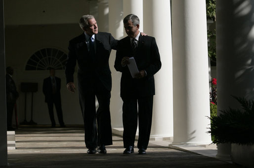 "President George W. Bush and Secretary of Agriculture Mike Johanns leave the Rose Garden Thursday, Sept. 20, 2007, after the President announced Mr. Johann's resignation and the Secretary's decision to return to his home state of Nebraska. ""Mike has been an outstanding member of my Cabinet,"" said President Bush. ""I thank him from the bottom of my heart for leaving a state he loves to come here to Washington, D.C."" White House photo by Eric Draper"