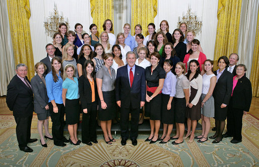 President George W. Bush stands with members of Brown University Women's Crew Championship Team Friday, Sept. 21, 2007, at the White House during a photo opportunity with the 2006 and 2007 NCAA Sports Champions. White House photo by Eric Draper