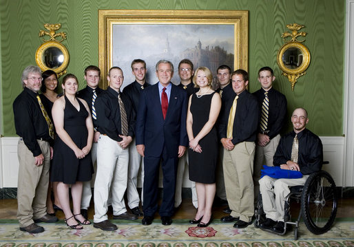 President George W. Bush stands with members of the University of Alaska-Fairbanks Men's and Women's Rifle Championship Team Friday, Sept. 21, 2007, at the White House during a photo opportunity with the 2006 and 2007 NCAA Sports Champions. White House photo by Chris Greenberg