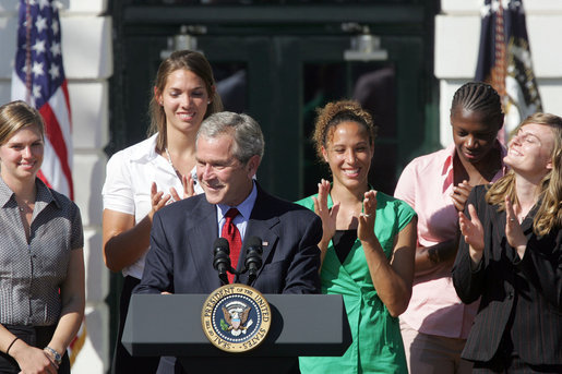President George W. Bush addresses the NCAA 2006 and 2007 championship Teams during a ceremony Friday, Sept. 21, 2007, on the South Lawn. White House photo by Chris Greenberg