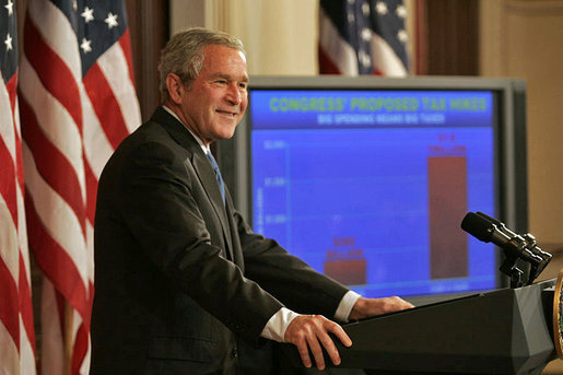 "President George W. Bush discusses the federal budget Monday, Sept. 24, 2007, in the Dwight D. Eisenhower Executive Office Building. ""This is an important time for our economy. For nearly six years we've enjoyed uninterrupted economic growth. Since August 2003, the economy has added more than 8.2 million jobs,"" said President Bush. ""Productivity is growing, and that's translating into larger paychecks for American workers. Unemployment is low, inflation is low, and opportunity abounds. The entrepreneurial spirit is strong."" White House photo by Joyce N. Boghosian"