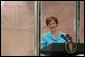 "Mrs. Laura Bush speaks during a luncheon on global health and literacy Tuesday, Sept. 24, 2007, at the Pierpont Morgan Library in New York. ""Over the last five years, Afghanistan's primary-school enrollment rate has increased by more than 500 percent. At the same time, Afghanistan's infant and child mortality rate has dropped nearly 20 percent,"" said Mrs. Bush citing an important example of how education and children's health are intertwined. ""Just a few years of increased school enrollment have produced these promising advances in children's health."" White House photo by Shealah Craighead"