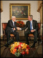 "President George W. Bush meets with Palestinian Prime Minister Mahmoud Abbas Monday, Sept. 24, 2007, in New York. ""I strongly support the creation of a Palestinian state. I believe it's in the interests of the Palestinian people, I believe it's in the interests of Israel to have a democracy living side-by -- democracies living side-by-side in peace,"" said President Bush to the press. White House photo by Eric Draper"
