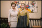 Mrs. Laura Bush meets with Madam Yoo (Ban) Soon-taek, wife of United Nations Secretary General Ban Ki-moon, during a UN hosted tea Tuesday, Sept. 25, 2007 in New York. White House photo by Shealah Craighead