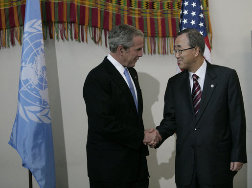 President George W. Bush is greeted Tuesday, Sept. 25, 2007, by United Nations Secretary-General Ban Ki-moon after arriving at U.N. Headquarters in New York City. White House photo by Eric Draper