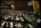 "President George W. Bush addresses the United Nations General Assembly Tuesday, Sept. 25, 2007, in New York City. President Bush told the 62nd Assembly, ""This great institution must work for great purposes -- to free people from tyranny and violence, hunger and disease, illiteracy and ignorance, and poverty and despair. Every member of the United Nations must join in this mission of liberation."" White House photo by Eric Draper"