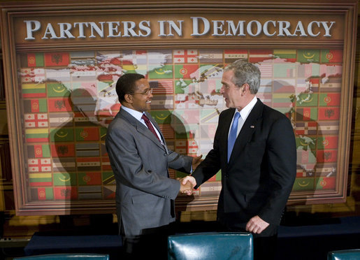 President George W. Bush shakes hands with Tanzania President Jakaya Mrisho Kikweta during their participation in a Roundtable on Democracy Tuesday, Sept. 25, 2007, at the United Nations in New York. White House photo by Eric Draper