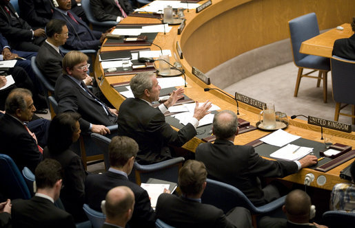 President George W. Bush gestures as he addresses delegates Tuesday, Sept. 25, 2007 at a meeting of the United Nations Security Council on Africa at the United Nations headquarters in New York. White House photo by Eric Draper
