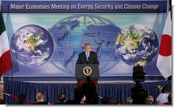 "President George W. Bush addresses the Major Economies Meeting on Energy Security and Climate Change Friday, Sept. 28, 2007, at the U.S. State Department. ""The nations in this room have special responsibilities,"" said the President. ""We represent the world's major economies, we are major users of energy, and we have the resources and knowledge base to develop clean energy technologies."" White House photo by Chris Greenberg"