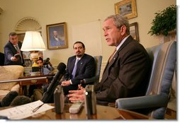 President George W. Bush speaks with members of the press during a meeting with Saad Hariri, the leader of the Parliamentary Majority in Lebanon, Thursday, Oct. 4, 2007 in the Oval Office. White House photo by Eric Draper