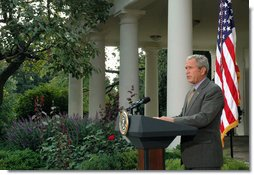 "President George W. Bush discusses the reauthorization of the No Child Left Behind Act Tuesday, Oct. 9, 2007, in the Rose Garden. ""No Child Left Behind is helping replace a culture of low expectations with a commitment to high achievement for all. And the hard work being done by principals, teachers, parents and students across our country is producing results,"" said President Bush. White House photo by Grant Miller"