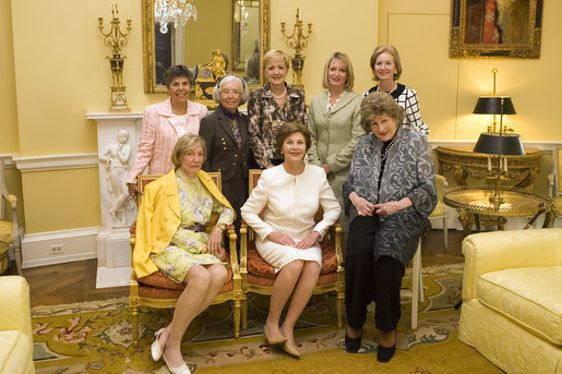 Mrs. Laura Bush is joined by former White House social secretaries Tuesday, Oct. 9, 2007 at the White House, during a tea in honor of Ms. Letitia Baldrige, front-row right, social secretary during the Kennedy administration. Joining Mrs. Bush, from left, are: Mrs. Elizabeth Clements Abell, seated left, social secretary during the Johnson administration; Ms.Maria Downs, social secretary under the Ford administration; Mrs. Lucy Winchester Breathitt, social secretary under the Nixon administration; Mrs. Ann Stock, social secretary during the Clinton administration; Amy Zantzinger, current White House social secretary and Mrs. Cathy Fenton, Mrs. Bush's former social secretary. White House photo by Shealah Craighead