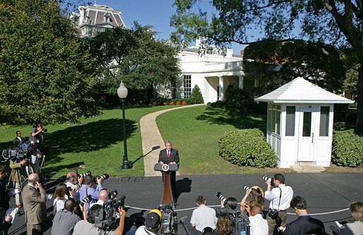 "President George W. Bush discusses the Foreign Intelligence Surveillance Act legislation Wednesday, Oct. 10, 2007, on the South Lawn. ""In August, Congress passed the Protect America Act, a bill to modernize the Foreign Intelligence Surveillance Act of 1978,"" said President Bush. ""This new law strengthened our ability to collect foreign intelligence on terrorists overseas, and it closed a dangerous gap in our intelligence. And keeping this authority is essential to keeping America safe."" White House photo by Chris Greenberg"