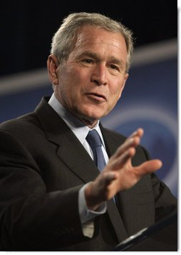 "President George W. Bush speaks on free trade policy during a visit Friday, Oct. 12, 2007, to Miami. The President told his audience: ""Congress now has an opportunity to build on the success by passing new free trade agreements with Peru, Colombia, and Panama. Today, all three of these countries enjoy duty-free access to U.S. markets for virtually all their products. They're shipping their goods our way, and most of those products enter America duty free. Yet when we ship our products their way, most of our products face significant tariffs. Our free trade agreements would knock down many of these barriers -- and level the playing field for our businesses and farmers and workers."" White House photo by Eric Draper"