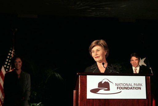 "Mrs. Laura Bush addresses the National Park Foundation's Leadership Summit on Partnership and Philanthrophy Sunday, Oct. 14, 2007, in Austin, Texas. ""Making sure Americans share that sense of responsibility for our national treasures is central to the National Park Foundation's mission,"" said Mrs. Bush. ""2007 is the 40th anniversary of the National Park Foundation, and this Leadership Summit on Partnership and Philanthropy is a great way to celebrate this milestone."" White House photo by Shealah Craighead"