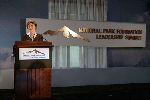 "Mrs. Laura Bush addresses the National Park Foundation's Leadership Summit on Partnership and Philanthropy Monday, Oct. 15, 2007, in Austin, Texas. ""Through its 40 years of stewardship, the National Park Foundation has helped preserve these magnificent places for future generations,"" said Mrs. Bush. ""Through educational programs and public awareness campaigns, the Foundation has encouraged millions of Americans to discover our natural and historical treasures."" White House photo by Shealah Craighead"