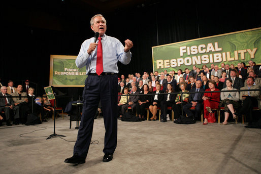 President George W. Bush addresses his remarks to an audience at the John Q. Hammons Convention Center in Rogers, Ark., Monday, Oct. 15, 2007, urging Congress to be fiscally responsible with the taxpayer's money. White House photo by Eric Draper