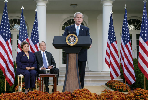 "President George W. Bush addresses members of the media in the Rose Garden at the White House Tuesday, Oct. 16, 2007, following a meeting of the President's Commission on Care for America's Returning Wounded Warriors. President Bush, joined by commission co-chairs former Health and Human Services Secretary Donna Shalala and former U.S. Senator Bob Dole, said ""My administration strongly supports the commission's recommendations."" White House photo by Chris Greenberg"