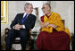 President George W. Bush and The Dalai Lama share a laugh Wednesday, Oct. 17, 2007, during the ceremony at the U.S. Capitol in Washington, D.C., for the presentation of the Congressional Gold Medal to The Dalai Lama. White House photo by Chris Greenberg