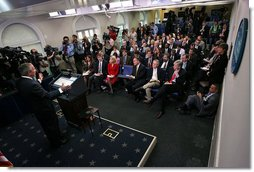 "President George W. Bush holds a press conference Wednesday, Oct. 17, 2007, in the James S. Brady Press Briefing Room. ""Congress has work to do on the budget. One of Congress's basic duties is to fund the day-to-day operations of the federal government,"" said President Bush. ""Yet Congress has not sent me a single appropriations bill."" White House photo by Eric Draper"