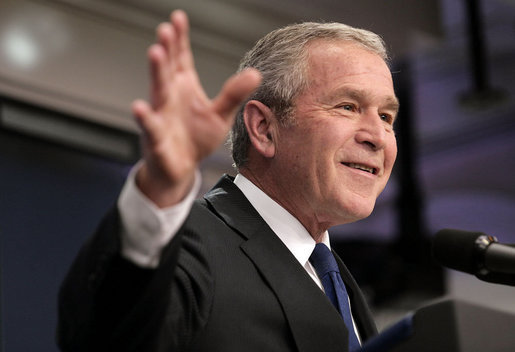 "President George W. Bush holds a press conference Wednesday, Oct. 17, 2007, in the James S. Brady Press Briefing Room. ""As we saw from the recent Nation's Report Card, the No Child Left Behind Act is getting results for America's children. Test scores are rising. The achievement gap is beginning to close,"" said President Bush. ""And Congress should send me a bipartisan bill that reauthorizes and strengthens this effective piece of legislation."" White House photo by Eric Draper"