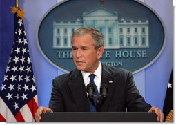 "President George W. Bush holds a press conference Wednesday, Oct. 17, 2007, in the James S. Brady Press Briefing Room. ""Congress has work to do for our military veterans,"" said President Bush. ""Yesterday I sent Congress legislation to implement the Dole-Shalala commission's recommendations that would modernize and improve our system of care for wounded warriors. Congress should consider this legislation promptly so that those injured while defending our freedom can get the quality care they deserve."" White House photo by Chris Greenberg"