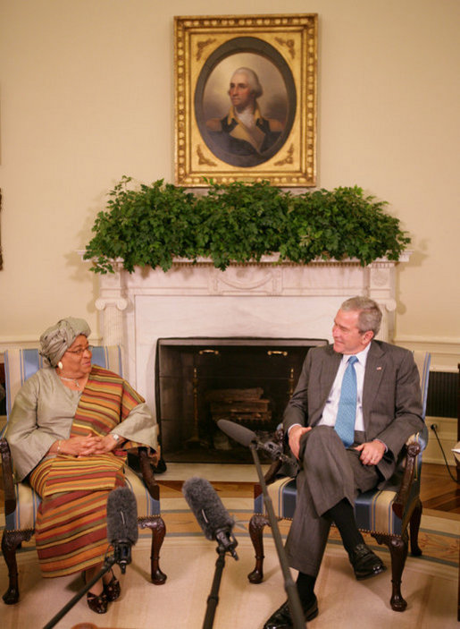 President George W. Bush meets with President Ellen Johnson Sirleaf of the Republic of Liberia in the Oval Office, Thursday, Oct. 18, 2007. President Sirleaf is Africa's first elected female head of state. White House photo by Eric Draper