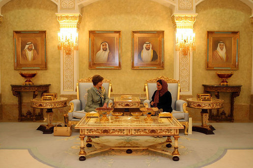 Upon her arrival to the United Arab Emirates, Mrs. Laura Bush meets with Economic Minister Sheikha Lubna al-Qasimi Sunday, Oct. 21, 2007, in Abu Dhabi. Mrs. Bush is traveling this week to the United Arab Emirates, Kuwait, Saudi Arabia and Jordan. During the visits, she will talk with medical and educational leaders, leaders of women's groups and officials. White House photo by Shealah Craighead