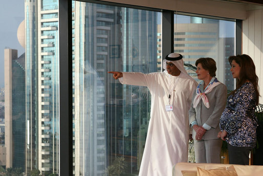 Mrs. Laura Bush takes in a view of Dubai with Her Royal Highness Princess Haya Bint Hussein and Mr. H.E. Obaid Al Tayer, Chairman of the Dubai Chamber of Commerce and Industry, Monday, Oct. 22, 2007, in Dubai, United Arab Emirates. White House photo by Shealah Craighead