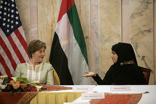 Mrs. Laura Bush talks with Basmah Zeyoudi during a roundtable discussion with young Arab women leaders Monday, Oct. 22, 2007, in Abu Dhabi, United Arab Emirates. Moderating the discussion is U.S. Ambassador Michele Sison. White House photo by Shealah Craighead
