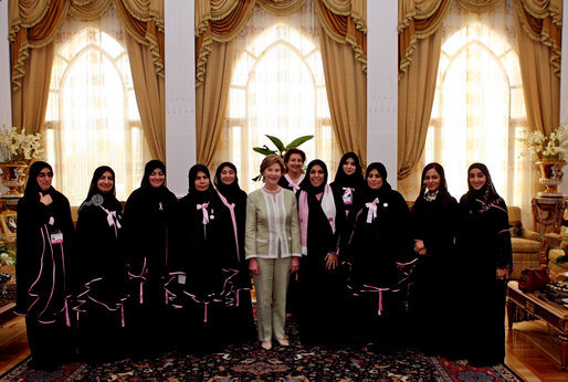 Mrs. Laura Bush pauses for a photo with guests upon conclusion of a social lunch with Sheikha Fatima Bin Mubarak at Sheikha Fatima's Sea Palace Monday, Oct. 22, 2007, in Abu Dhabi, United Arab Emirates. The visit to Abu Dhabi was the first during Mrs. Bush's weeklong visit to the Middle East, where she is scheduled to meet with key officials, medical and educational leaders, and leaders of women's groups. White House photo by Shealah Craighead