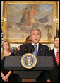 "President George W. Bush delivers a statement on the War Supplemental Monday, Oct. 22, 2007, in the Roosevelt Room of the White House. Joined by veterans, members of military support organizations and families of the fallen, the President said, ""These patriots have come to the Oval Office to make sure -- and to make clear -- that our troops have the full commitment of our government."" White House photo by Chris Greenberg"