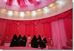 Mrs. Laura Bush talks with women in the Pink Majlis Monday, Oct. 22, 2007, at the Sheikh Khalifa Medical Center in Abu Dhabi, United Arab Emirates. The Majlis is a tradition of open forum for a wide range of topics. The Majlis focuses on issues related to breast cancer. White House photo by Shealah Craighead
