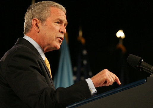 "President George W. Bush speaks at the National Defense University in Washington, D.C., Tuesday, Oct. 23, 2007. During his remarks, the President addressed the devastation caused by wildfires in Southern California. Said the President, ""All of us across this nation are concerned for the families who have lost their homes, and the many families who have been evacuated from their homes. We send our prayers and thoughts with those who've been affected."" White House photo by Chris Greenberg"