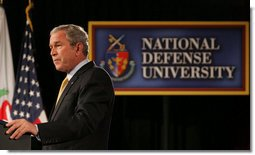 "President George W. Bush addresses the National Defense University's Distinguished Lecture Program Tuesday, Oct. 23, 2007, in Washington, D.C. Said the President, ""All of you who wear the uniform are helping to protect this country, and the United States of America is grateful for your service.""  White House photo by Chris Greenberg"