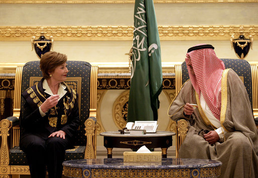 After arriving in Riyadh, Tuesday, Oct. 23, 2007, Mrs. Laura Bush talks with Prince Faisal Bin Abdallah Bin Abd al-Aziz Al Saud, President of the Saudi Cancer Society and President of the Saudi Red Crescent Society. White House photo by Shealah Craighead