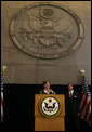 Mrs. Laura Bush addresses U.S. embassy staff Tuesday, Oct. 23, 2007, during her visit to Riyadh, Saudia Arabia. White House photo by Shealah Craighead