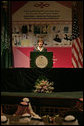 "Mrs. Laura Bush speaks during the launching of the U.S.-Saudi Arabia Partnership for Breast Cancer Awareness and Research at King Fahd Medical City Tuesday, Oct. 23, 2007, in Riyadh, Saudi Arabia. Mrs. Bush told her audience, ""Over the next quarter-century, an estimated 25 million women around the world will be diagnosed with breast cancer. Breast cancer does not respect national boundaries, which is why people from every country must share their knowledge, resources and experiences to protect women from this disease."" White House photo by Shealah Craighead"