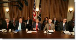 "President George W. Bush emphasizes a point as he meets with his Cabinet Wednesday, Oct. 24, 2007, in the Cabinet Room of the White House. Speaking afterwards and on the topic of the California wildfires, the President said, "".I want the people in Southern California to know that Americans all across the land care deeply about them, we're concerned about their safety, we're concerned about their property, and we offer our prayers and hopes that all will turn out fine in the end."" White House photo by Eric Draper"