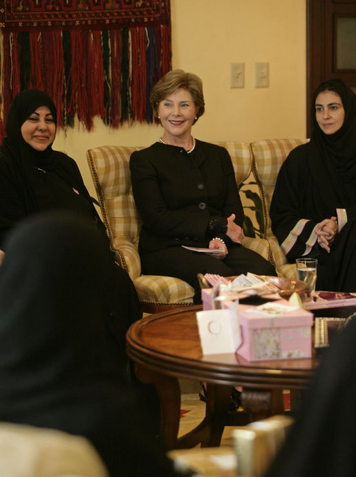"Mrs. Laura Bush participates in a ""Breaking the Silence"" Coffee with breast cancer survivors and members of their families Wednesday, Oct. 24, 2007, in Jeddah, Saudi Arabia. White House photo by Shealah Craighead"